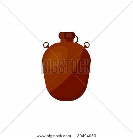 Flask with water in a flat style for camping, hiking or travel. Drink bottle. Vector illustration