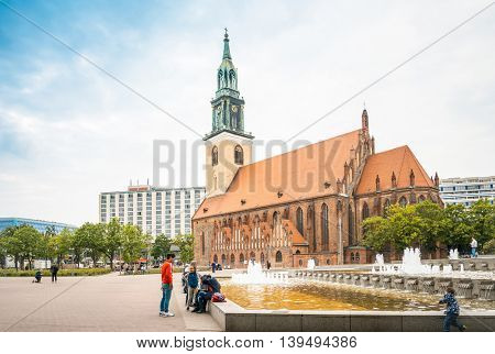 BERLIN, GERMANY- May 18: Traditional old buildings. Beautiful street view of Traditional old buildings in Berlin on May 18, 2016. BERLIN, Germany.
