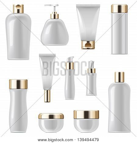 Vector Cosmetic Packaging Icons Set 3 isolated on white background