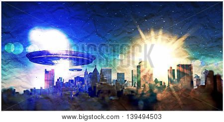 3d illustration of unidentified objects attacking a city