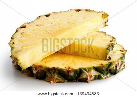 Round Pineapple Slice And Two Halves With Skin Isolated On White.