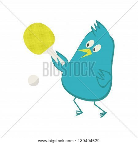 Blue bird plays ping pong. Fun and sport. Vector illustration.
