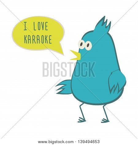 Dancing bird with speech bubble. Love karaoke. Vector illustration.