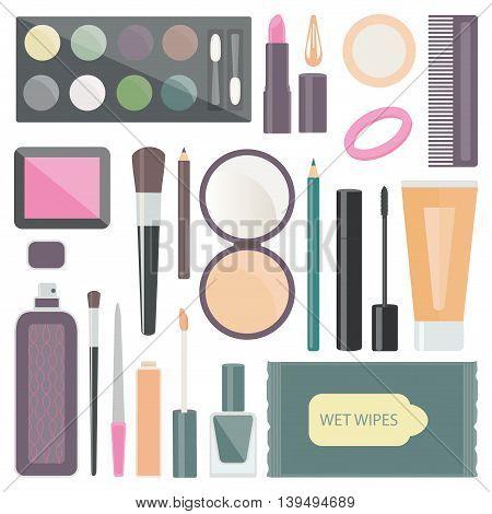 decorative cosmetics is eye shadow, mascara, puff, lipstick, comb, blush, brushes, pencils for eyebrows and eyes, perfume, powder, concealer, hair band, hairpin, nail Polish, lip gloss, nail file.