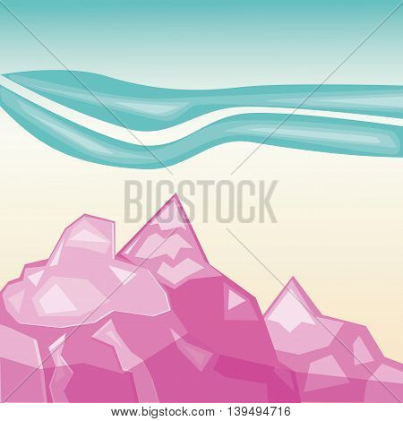 Simple pink mountains. Geometric paper application landscape
