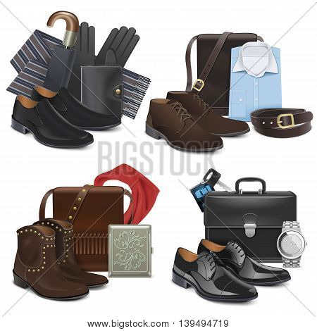 Vector Male Fashion Accessories isolated on white background