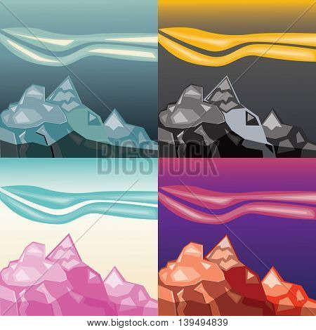 Mountains landscape paper application set. Four color variations
