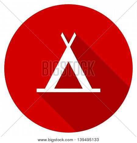 camp red vector icon