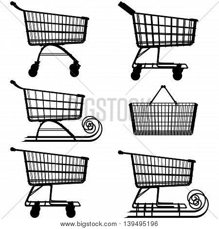 Vector Supermarket Cart Pictogram isolated on white background