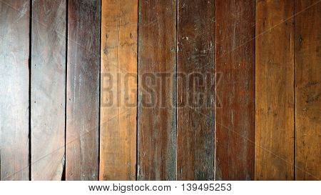 Floor antique Red Balau wood old in Thai house for background.