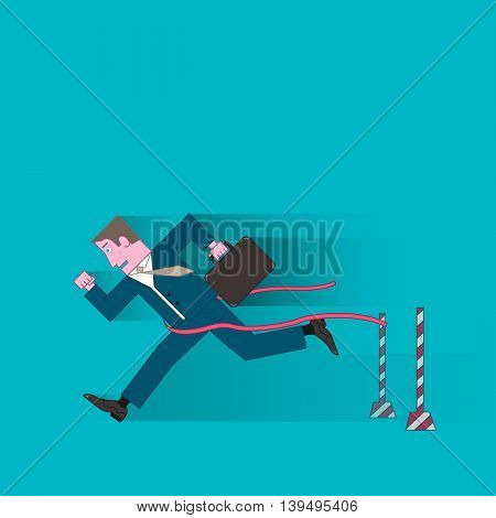businessman in blue suit with briefcase running to the finish line first