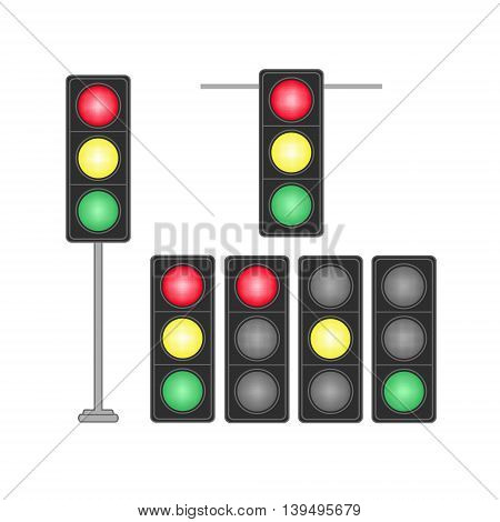 Set of traffic lights isolated on white background. Vector illustration.