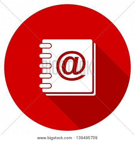 address book red vector icon
