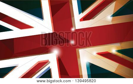 British flag, abstract color background, vector illustration