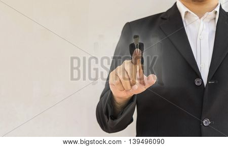 abstact of businessman select new employee scene on white background - can use to display or montage on product