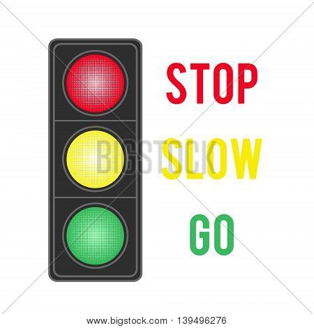 Image of traffic light isolated on white background. Vector illustration.