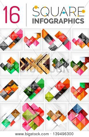 Collection of abstract backgrounds - repetition of square shapes pattern with option infographics text. Colorful geometric universal template, bright unusual banner design, text presentation backdrop