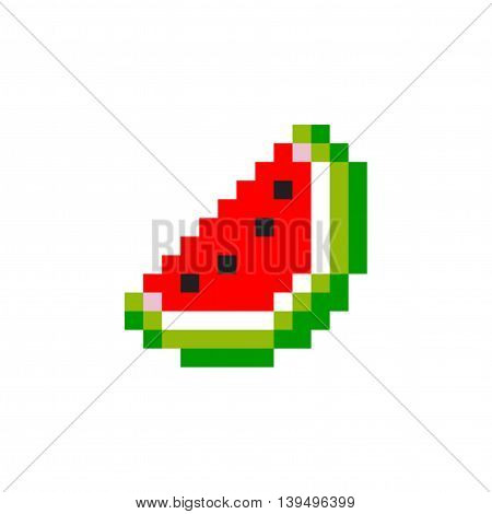 Pixel Watermelon Red - Isolated Vector Illustration