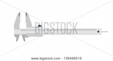 Caliper in a flat style. Mesurement. Building and construction. Vector illustration