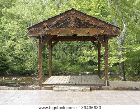 TOWNSEND, TENNESSEE - May 13: On May 13, 2015, a wedding altar stands on the Little River bank in Townsend, Tennessee, gateway to Smoky Mountains National Park.