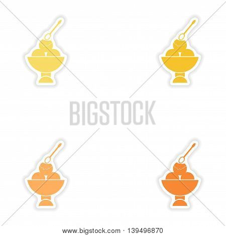 Set of paper stickers on white background  ice Cream balls