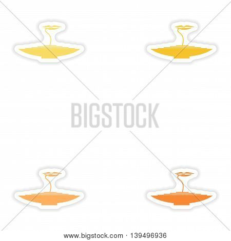 Set of paper stickers on white background  pasta dish