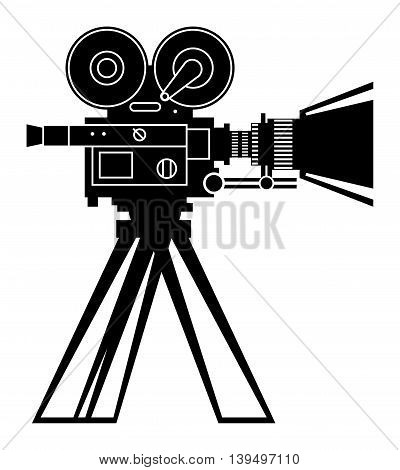 Vintage cinema camera on white bacground, vector illustration