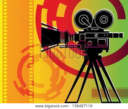 Abstract color cinema background with camera, vector illustration