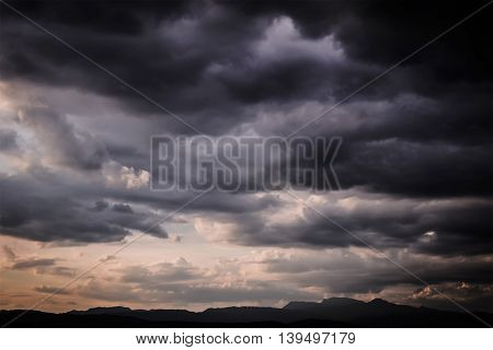 Dark Sky , Storm cloud before rain over the mountains.