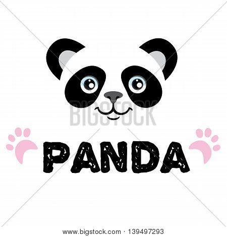 Panda logo. Isolated head on white background. Asian bear mascot idea for logo, emblem, symbol, icon.