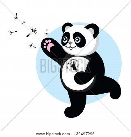 Panda on the walk runs for dandelion parachutes. Character cute and beautiful panda. Vector illustration