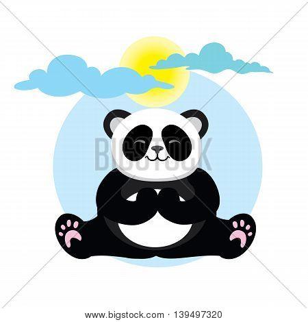 Character cute and beautiful panda practice of yoga. Vector illustration