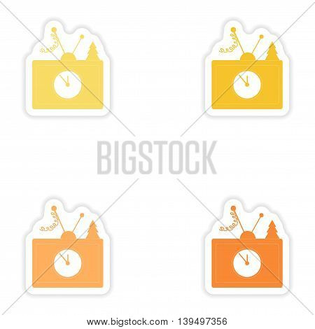 Set of paper stickers on white background  TV antenna