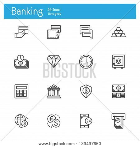 Banking line icons Finance line icon set