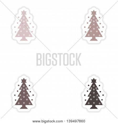 Set of paper stickers on white background  Hanukkah tree
