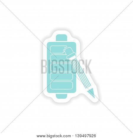 paper sticker on white background  mobile battery pencil