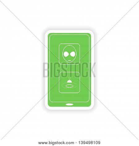 paper sticker on white background  mobile app