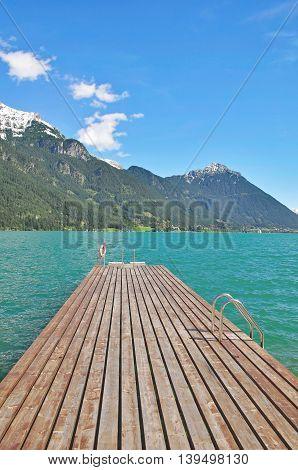 public Jetty in Pertisau am Achensee at Lake Achensee,Tirol,Alps,Austria