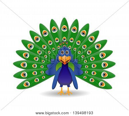 beautiful cartoon peacock in green and blue color isolated