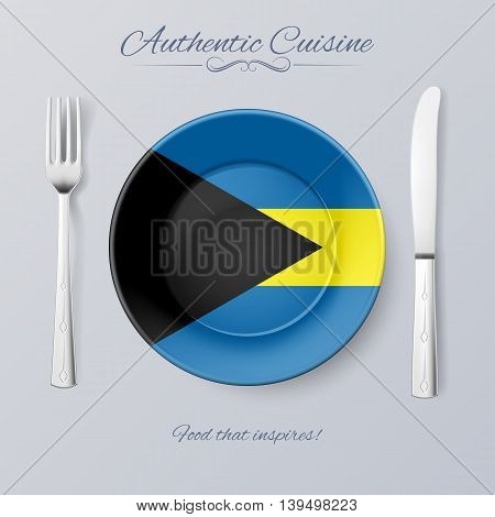 Authentic Cuisine of the Bahamas. Plate with Bahamian Flag and Cutlery