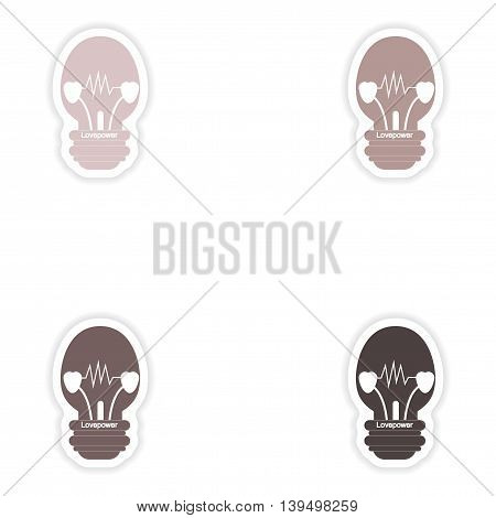 Set of paper stickers on white background  lightbulb love power