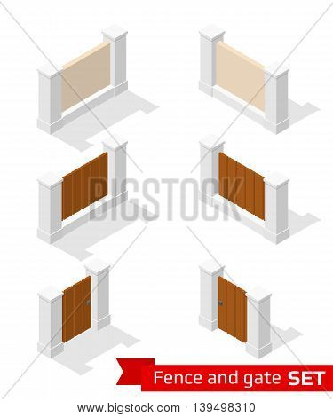 Isometric fence and gate constructor. Concrete parts with wooden planking isolated on white. Vector illustration