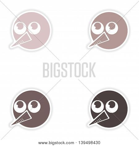 Set of paper stickers on white background   head snowman