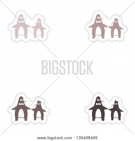 Set of paper stickers on white background  couple penguins