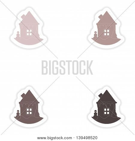 Set of paper stickers on white background   house snowman
