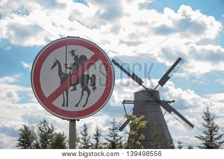 humorous road sign for the don quixotes