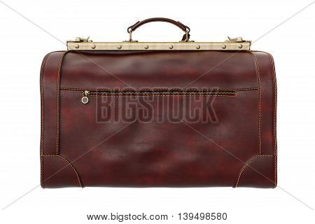 Travel classic leather bag brown retro style, back view. 3D graphic
