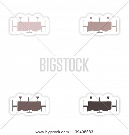 Set of paper stickers on white background  romantic dinner