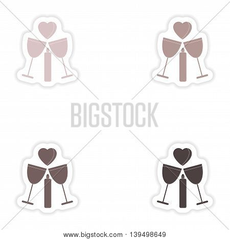 Set of paper stickers on white background  glasses wine candle