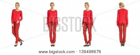 Portrait Of Young Slim Woman In Red Pants Posing Isolated On White